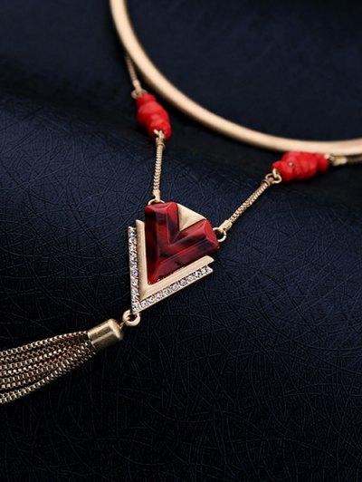 Resin Vintage Geometric Fringed Necklace - GOLDEN  Mobile