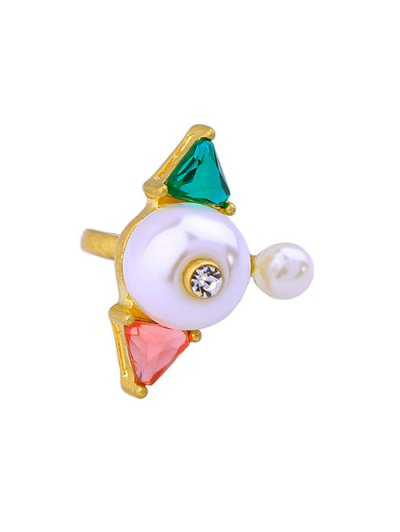 Artificial Gem Pearl Triangle Cuff Ring - GOLDEN  Mobile