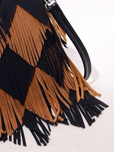 Color Blocking Multi Fringe Handbag - BLACK  Mobile