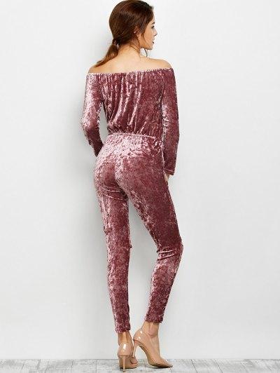 Ripped Off Shoulder Velvet Jumpsuit - BEGONIA XL Mobile