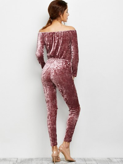 Ripped Off Shoulder Velvet Jumpsuit - BEGONIA L Mobile