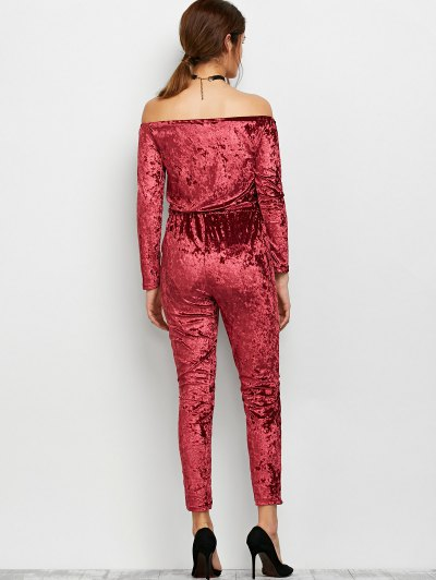 Ripped Off Shoulder Velvet Jumpsuit - WINE RED XL Mobile