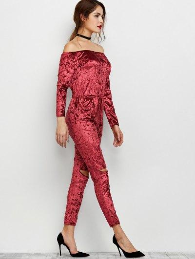 Ripped Off Shoulder Velvet Jumpsuit - WINE RED L Mobile