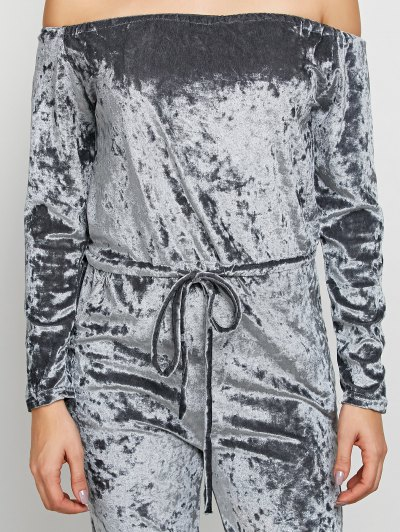 Ripped Off Shoulder Velvet Jumpsuit - GRAY S Mobile