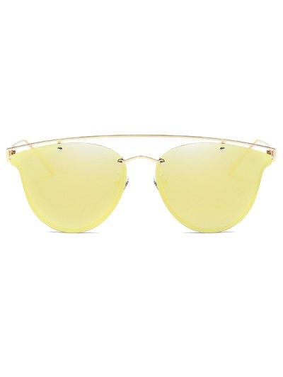 Crossbar Metal Mirrored Butterfly Sunglasses - GOLDEN  Mobile