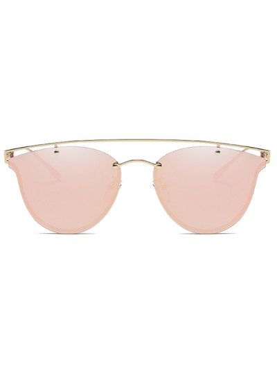 Crossbar Metal Mirrored Butterfly Sunglasses - PINK  Mobile