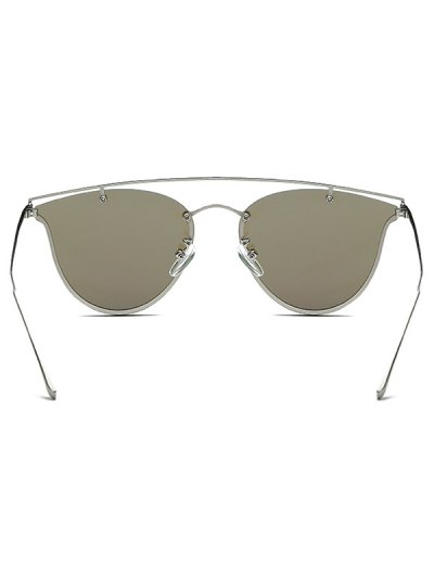 Crossbar Metal Mirrored Butterfly Sunglasses - ICE BLUE  Mobile
