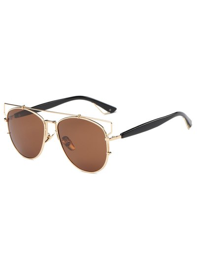 Crossbar Metal Sunglasses - TEA-COLORED  Mobile
