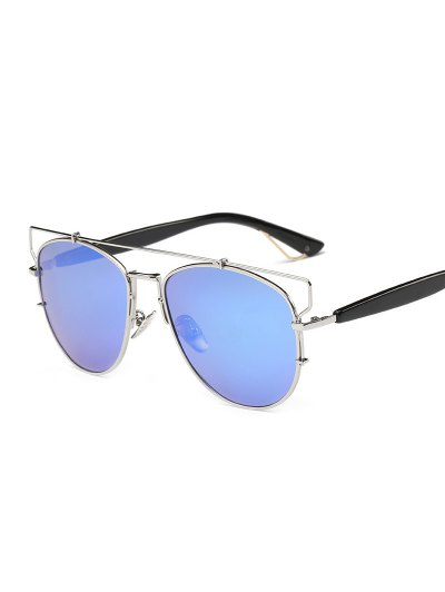 Crossbar Metal Mirrored Sunglasses - ICE BLUE  Mobile