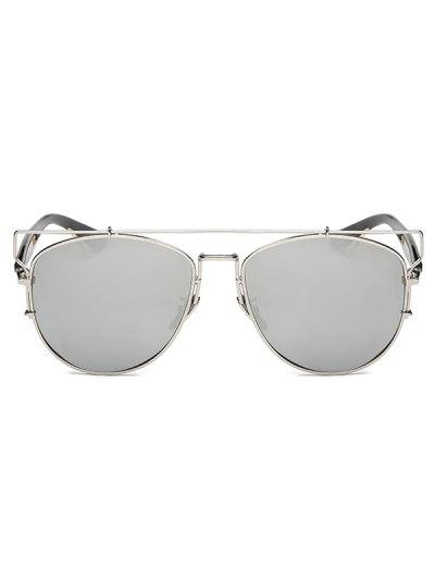 Crossbar Metal Mirrored Sunglasses - SILVER  Mobile