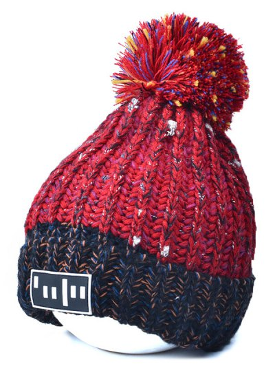 Color Block Cable Knit Pom Hat with Labelling - RED  Mobile