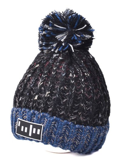 Color Block Cable Knit Pom Hat with Labelling - BLACK  Mobile