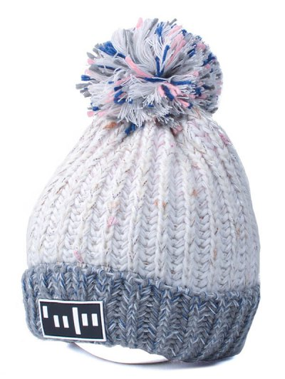 Color Block Cable Knit Pom Hat with Labelling - WHITE  Mobile