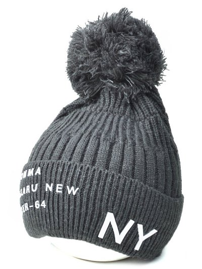 Knit Ribbed Pom Hat with NY Rubber - DEEP GRAY  Mobile