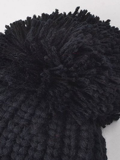 08 Embroidery Thicken Warm Neck Knitted Pom Hat - GRAY  Mobile