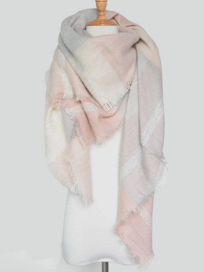 Plaid Pattern Fringed Knit Blanket Scarf - PINK  Mobile