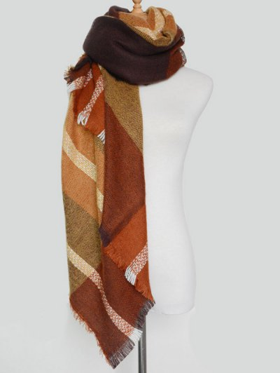 Plaid Pattern Fringed Knit Blanket Scarf - BROWN  Mobile