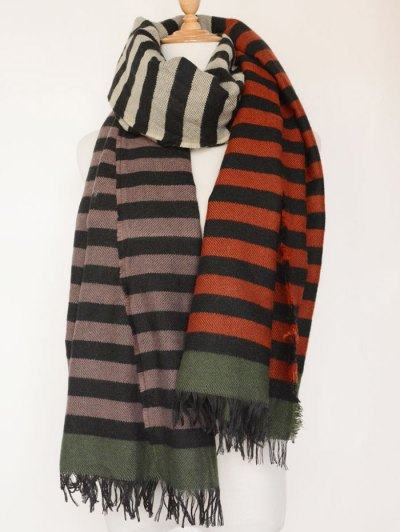 Striped Fringed Oblong Scarf - COLORMIX  Mobile