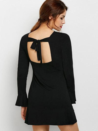 Flare Sleeve Cut Out Dress - BLACK L Mobile