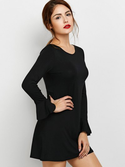 Flare Sleeve Cut Out Dress - BLACK S Mobile