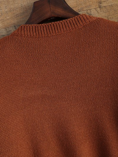 Distressed Patch Pocket Sweater - DARK AUBURN ONE SIZE Mobile