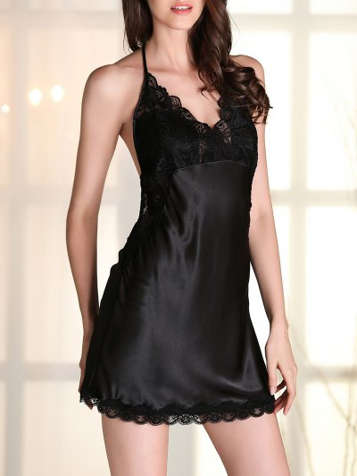 Satin Lace Panel Backless Babydoll - BLACK M Mobile