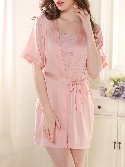 Satin Babydoll with Kimono Cardigan - PINK M Mobile