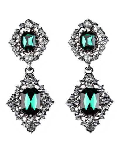 Artificial Gems Embellished Drop Earrings - BLACKISH GREEN  Mobile