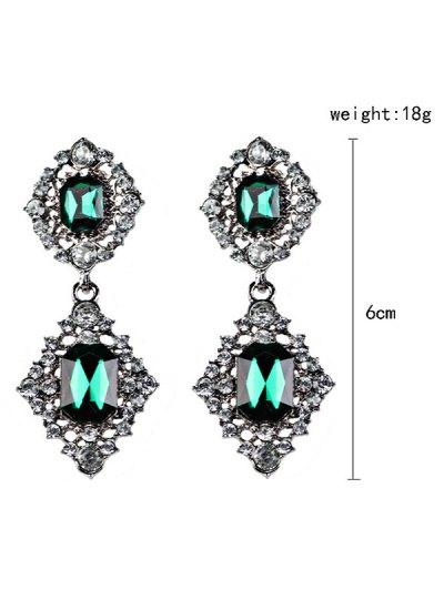 Artificial Gems Embellished Drop Earrings - BLACKISH GREEN  Mobile