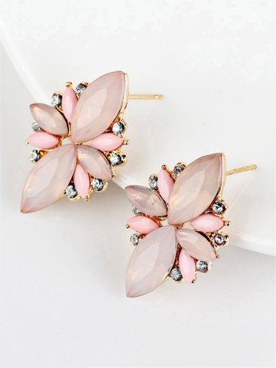 Artificial Gems Embellished Candy Color Earrings - PINK  Mobile
