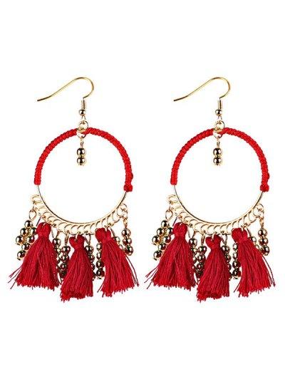Geometrical Bohemian Tassel Circle Drop Earrings - RED  Mobile