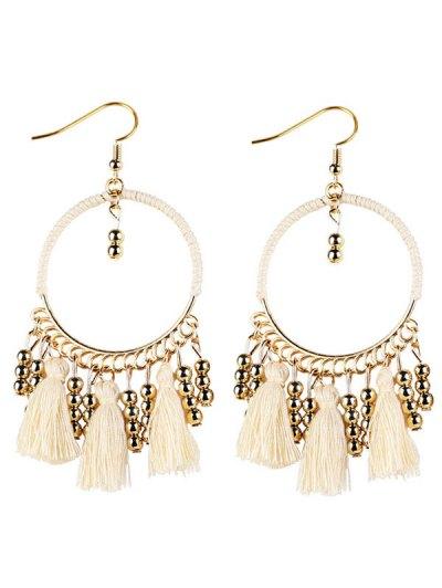 Geometrical Bohemian Tassel Circle Drop Earrings - WHITE  Mobile