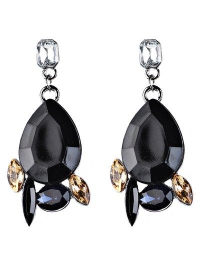 Artificial Gems Embellished Water Drop Dangle Earrings - BLACK  Mobile