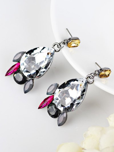 Artificial Gems Embellished Water Drop Dangle Earrings - WHITE  Mobile