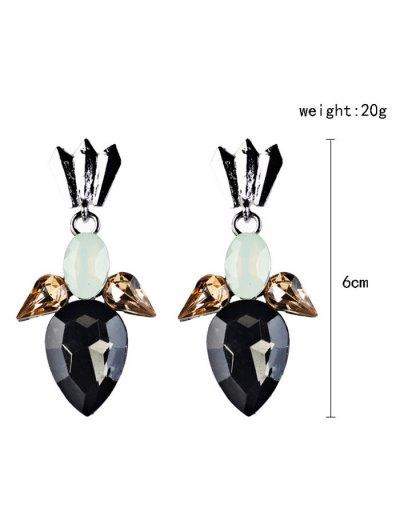 Artificial Crystal Embellished Water Drop Dangle Earrings - BLACK  Mobile