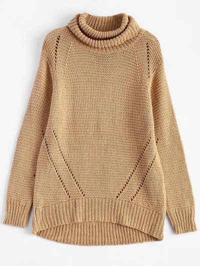 Relaxed Turtle Neck Pullover Sweater - KHAKI ONE SIZE Mobile