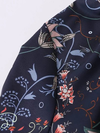 Frilled Tie Neck Floral Print Blouse - PURPLISH BLUE L Mobile