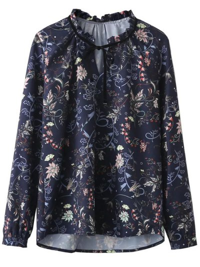 Frilled Tie Neck Floral Print Blouse - PURPLISH BLUE M Mobile