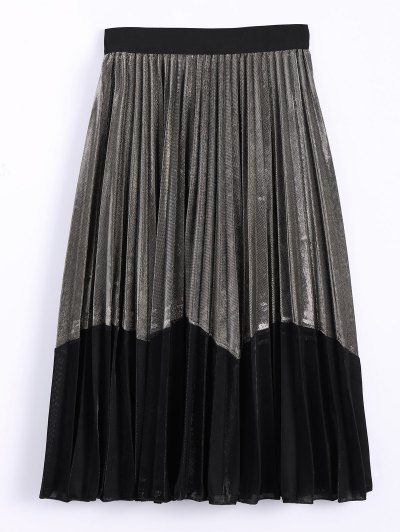 Color Block Velvet Pleated Skirt - GOLDEN ONE SIZE Mobile