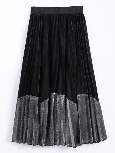 Color Block Velvet Pleated Skirt - SILVER ONE SIZE Mobile