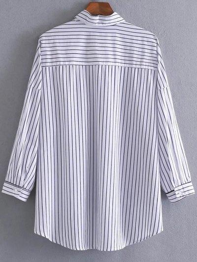 High Low Striped Pocket Shirt - STRIPE L Mobile
