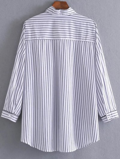 High Low Striped Pocket Shirt - STRIPE M Mobile