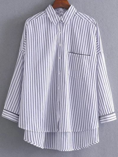 High Low Striped Pocket Shirt - STRIPE S Mobile