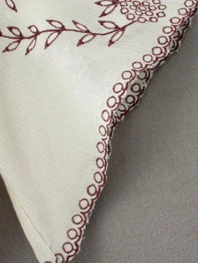 Linen Embroidered Surplice Blouse - BLACK S Mobile