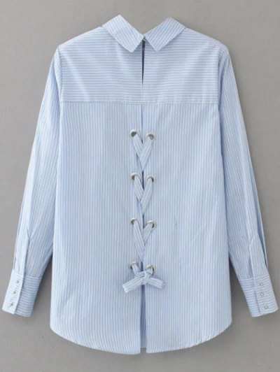 Lace Up Striped Embroidered Blouse - LIGHT BLUE M Mobile
