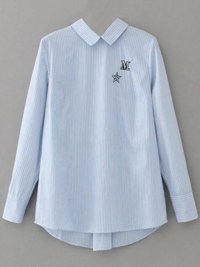 Lace Up Striped Embroidered Blouse - LIGHT BLUE S Mobile