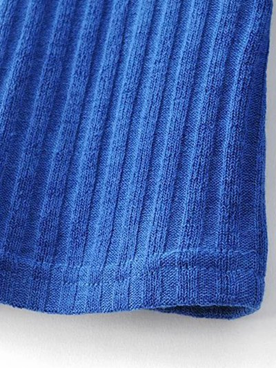 Ribbed High Neck Knitwear - BLUE L Mobile
