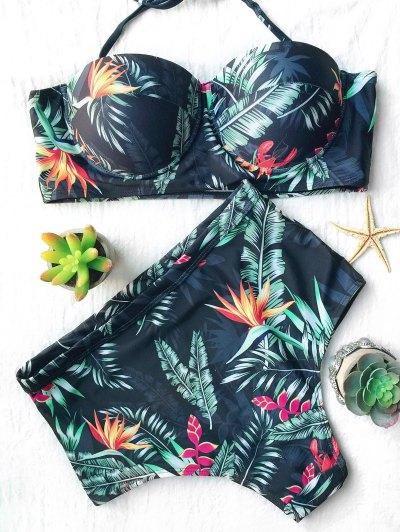 High Waist Leaf Print Bikini - BLACKISH GREEN L Mobile