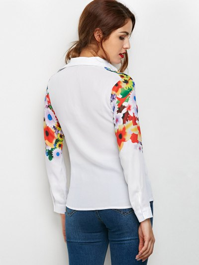Fitting Floral Print Shirt - WHITE M Mobile