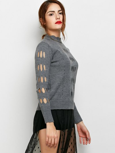 Cut Out Mock Neck Sweater - GRAY XL Mobile